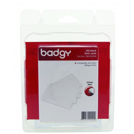 Packung mit 100 weißen bedruckbaren Karten, ideal für Badgy