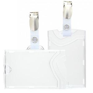Harter Kartenhalter mit Kartenclip (Hosenträgerklemme und verstärkte Lasche) - IDX48