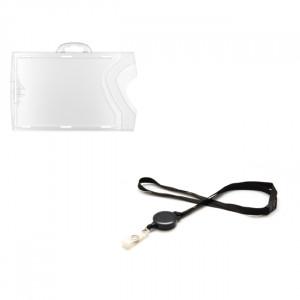 Kit Porte badge Horizontal & cordon noir sécuritaire avec enrouleur (lot de 10)