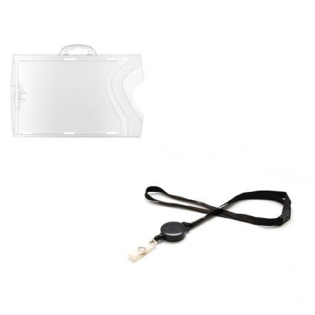 Kit: 10 Landscape badge holders + 10 black lanyards with badge reel