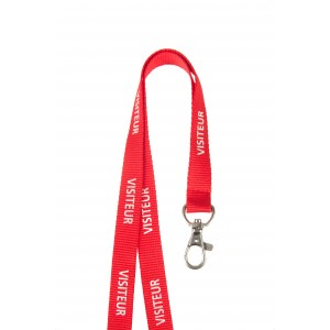 """15 mm ribbed polyester lanyard pre-printed """"VISITEUR"""" with nickel-plated dog hook"""
