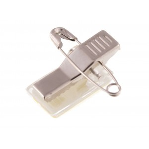 Metal fastener clip with safety pin and adhesive pad (per 1000)