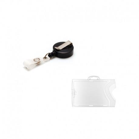 Kit: 10 horizontal badge holders + 10 black plastic badge reel