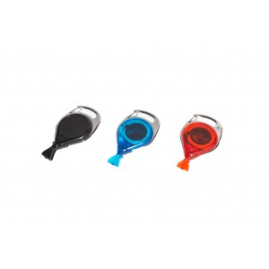 Plastic badge reel with dual clip and twist-free fastener