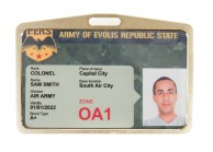Coppery badge-holder
