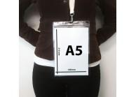 Porte badge A5 hermétique transparent souple