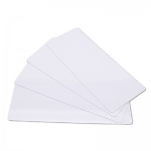 Pack of 100 white long PVC printable cards – 120 x 50 mm