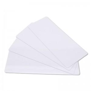 Packung mit 100 langen bedruckbaren PVC-Karten – Weiß – 120 x 50 mm