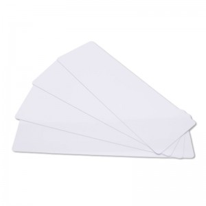 Pack of 100 white long PVC printable cards – 150 x 50 mm