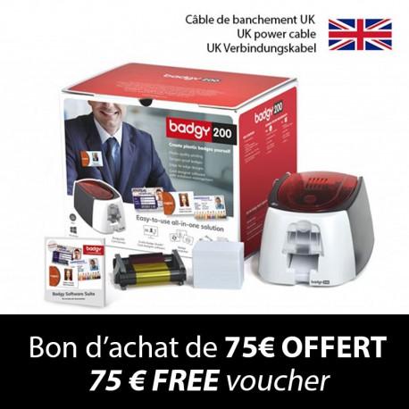 Badgy200+-Kartendrucker - UK-Verbindungskabel