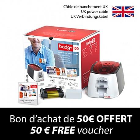 BADGY 100 card printer kit - UK power cable