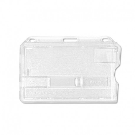 Polycarbonate badge holder with card extraction slider - one card