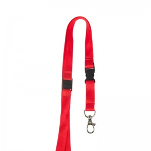 15mm flat lanyard with detachable buckle, metal dog hook and safety feature
