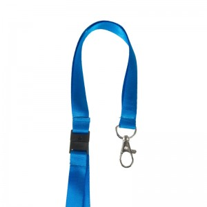 15mm flat satin lanyard with safety feature and metal dog hook