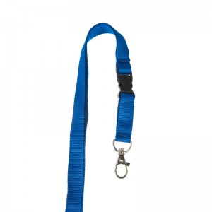 15mm flat lanyard with detachable buckle and metal dog hook