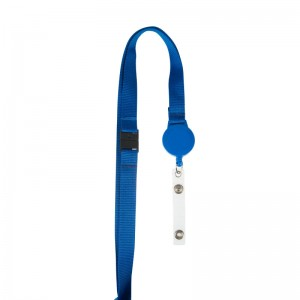 15mm flat lanyard with badge reel and safety feature