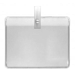 Porte-badge PVC souple transparent prêt à l'emploi avec pince plastique blanc