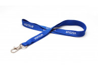 "15 mm ribbed polyester lanyard pre-printed ""VISITEUR"" with nickel-plated dog hook"