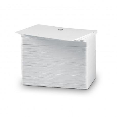 Pack de 100 cartes PVC blanches perforées 5 mm (épaisseur 0.5 mm)
