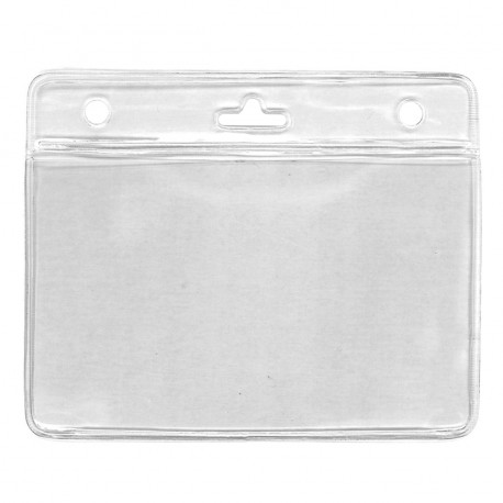 IDS38 : Clear vinyl badge holder for 2 cards 86 x 54 mm
