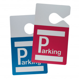 "Vehicle badge to be hung on the rear-view mirror pre-printed ""Parking"""