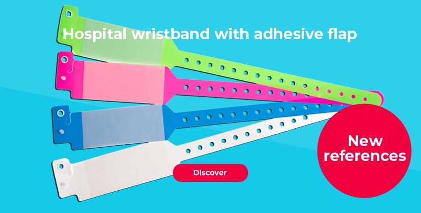Hospital wristband with adhesive flap