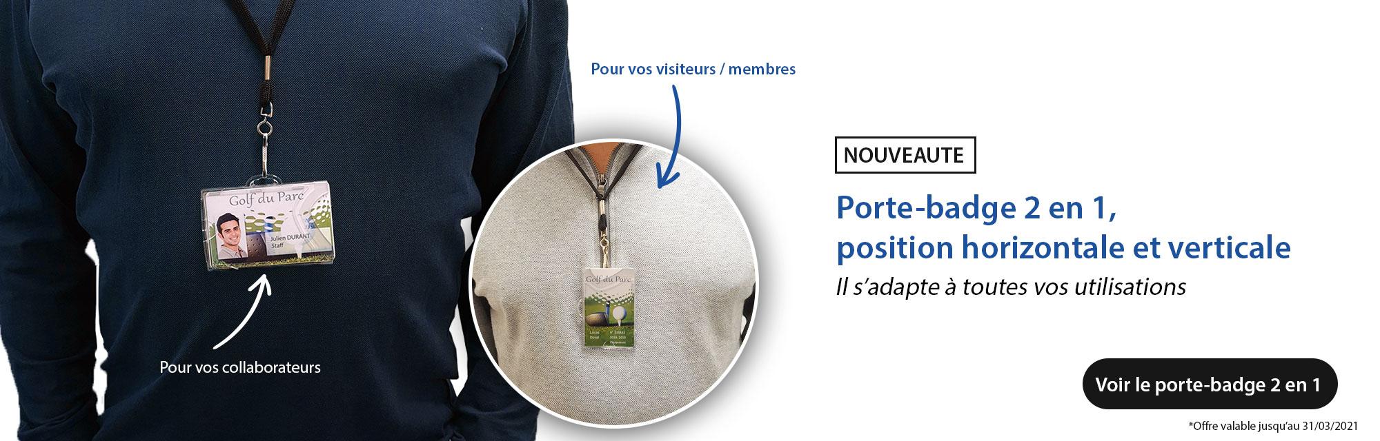 Porte-badge rigide 2 en 1 - horizontal et vertical IDX