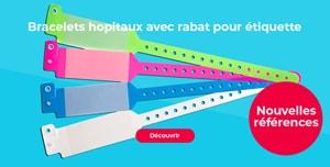 Bracelet hopital avec rabat pour étiquette